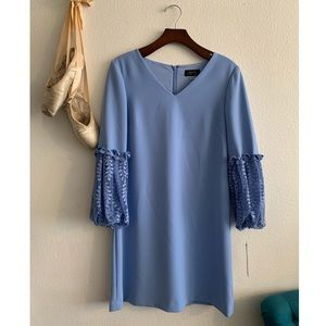 Tahari blue dress with lace detail sleeves
